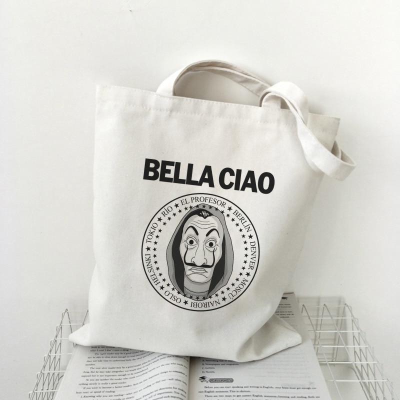 Мужская сумка Bella Ciao, большая Холщовая Сумка через плечо с принтом в виде маски и букв, женская сумка-кошелек