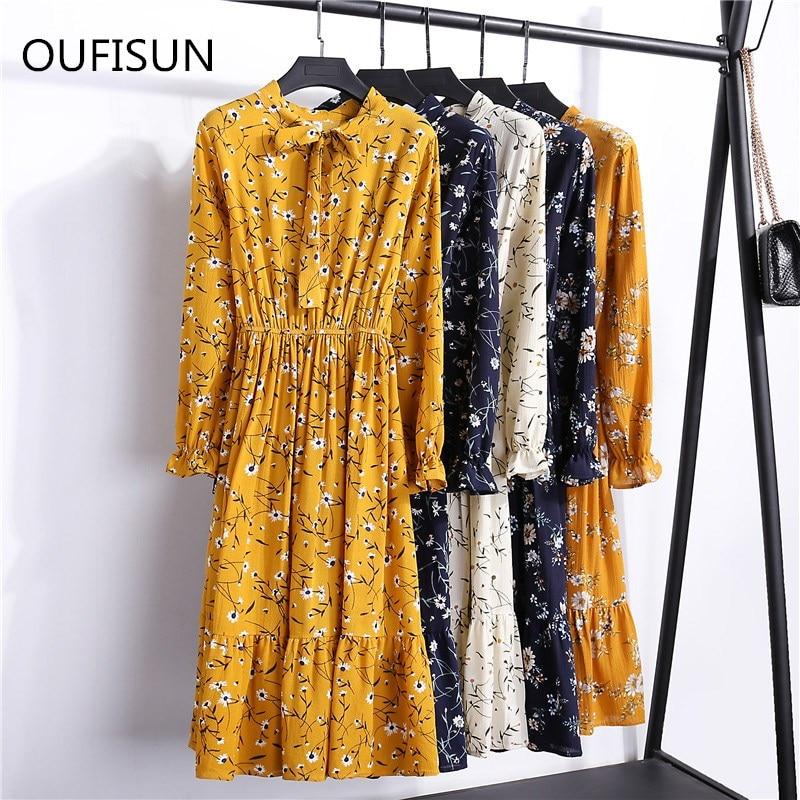 Vestidos Clothing Summer Korean Chiffon Women Dress Elegant Ladies Vintage Midi Dress Boho Floral Office Long Sleeve Dresses