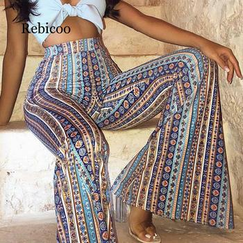 Women Striped Printed New Boho Flare Pants High Elastic Waist Vintage Soft Stretch Ethnic Style Bell Bottom Hippie