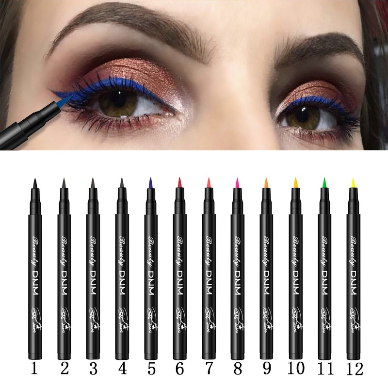 12 Colors Liquid Eyeliner Long Lasting Waterproof Smudge-Proof Pen Cosmetic Beauty Makeup
