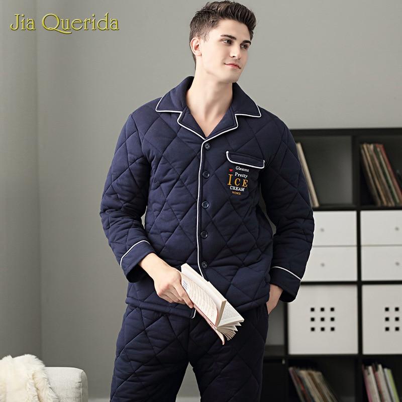 Pajama Men's Winter Large Size 100% Cotton Pajamas Set Long Sleeve Cardigan Home Clothing Chic Embroidery Men Pijama Padded Pjs
