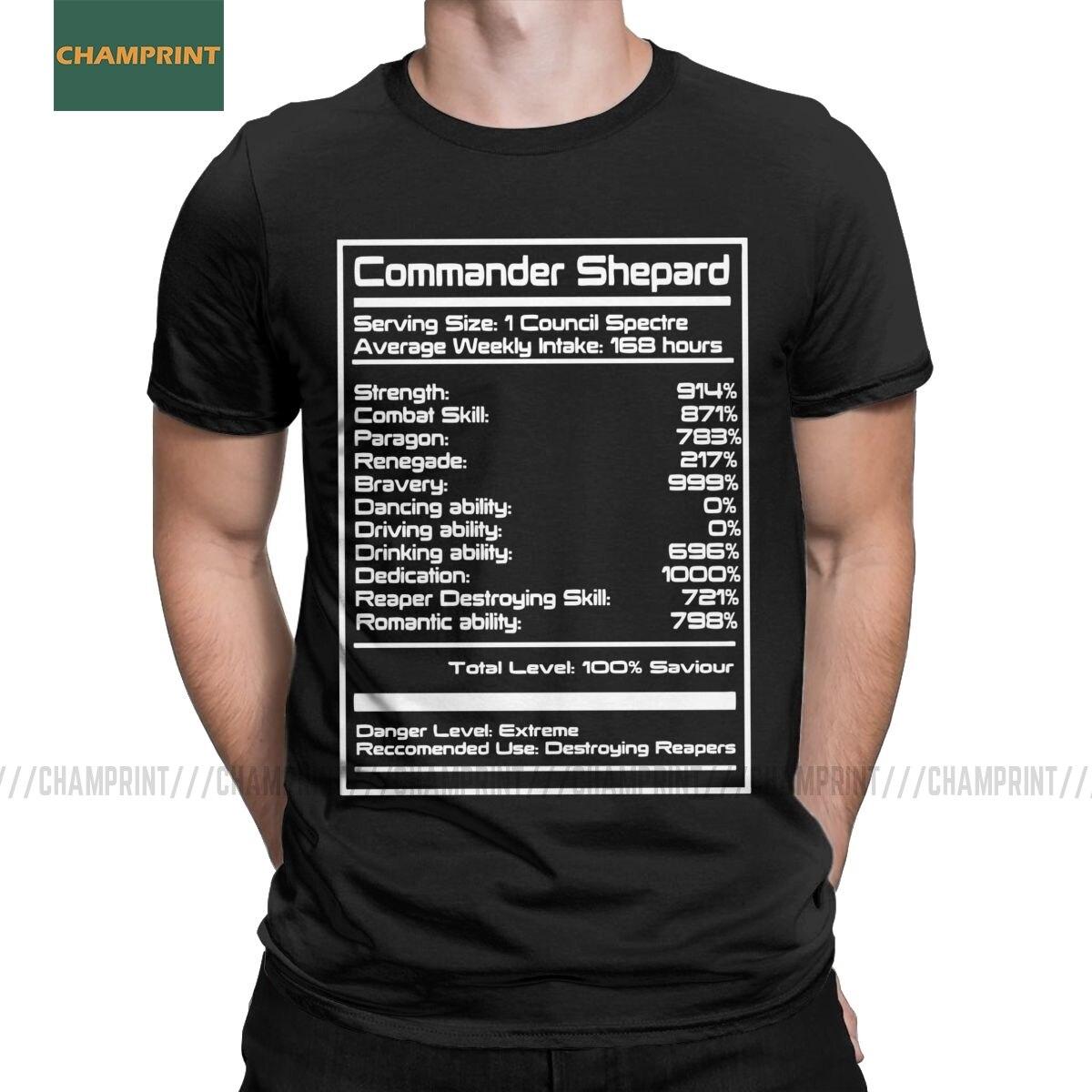 Mass Effect Shepard Stats T Shirts Men Cotton For Male T-Shirt Garrus Commander Wrex Mordin Game Tees Short Sleeve Tops Gift
