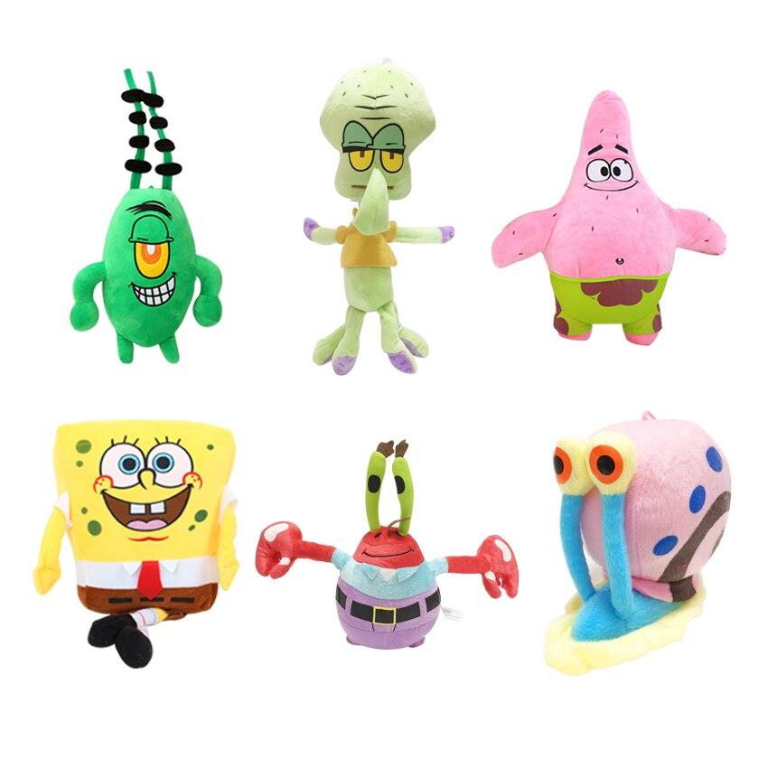 6 unids/set Bob Esponja de felpa juguetes niños dibujos animados película personajes Navidad cumpleaños regalo juguetes de peluche y animales de peluche para niñas