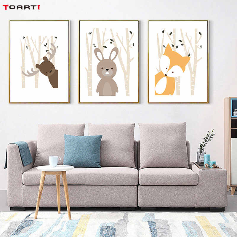 Cartoon Animals Prints Posters Deer Rabbit Fox Canvas Painting On The Wall Funny Woodland Picture For Kids Nursery Bedroom Decor