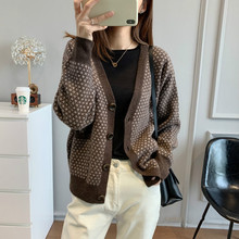 Women Sweater 2020 New Retro Jacquard Cardigan Wool and Cashmere Warm and Comfortable V-neck Jacket Women