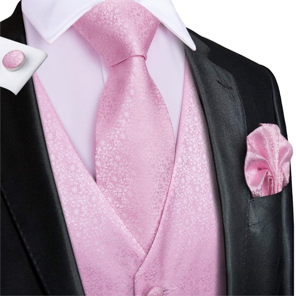 Hi-Tie Men's Vest Suit Pink 100% Silk For Wedding Peach High Quality Coral Waistcoat Vest For Men Pocket Hanky Cufflinks Set