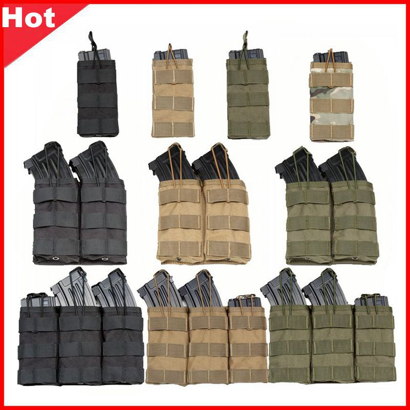 Good Quality 1000D Nylon Paintball Airsoft Pouch MOLLE Single / Double / Triple Magazine Pouch