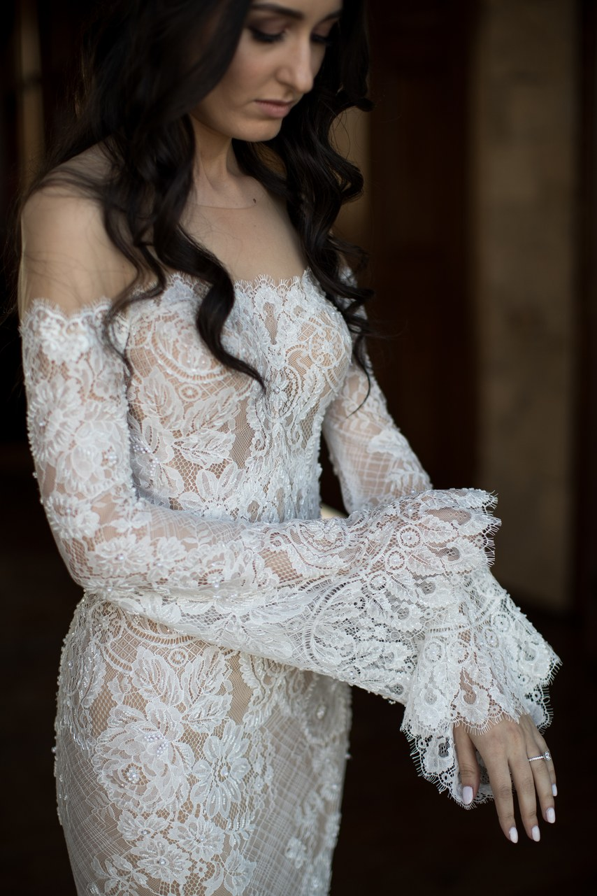 Off Shoulder Lace Fabric Flare Sleeve A Line Wedding Dress Bridal Gown