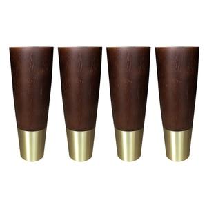 Image 2 - 4 adet doğal ahşap mobilya ayakları katı kauçuk ahşap masa dolap ayakları ayakları demir plaka vidaları