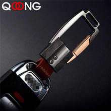 QOONG Custom Lettering High-Grade Alloy Genuine Leather Men Keychain Bag Pendant Key Chain Ring Metal Car Keyring Jewelry Gifts недорого