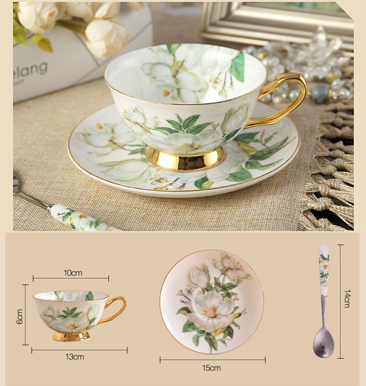 Classic Bone China Coffee Tea Cups Saucers Fine Porcelain Teaware Floral Pattern Ceramic Drinkware Fancy Gift (5)