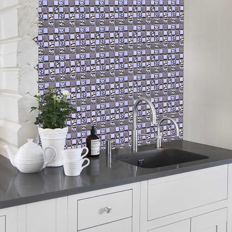 10pcs Mosaic Self Adhesive Tile Backsplash Wall Sticker 3D Waterproof Vinyl Wall Decal DIY Room Bathroom Kitchen Home Decor