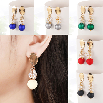 Red Color Chinese Latern Drop Earring For Women Rhinestone Chain Ball Stud Earring For Girl Gold Plated Zinc Alloy Jewelry image