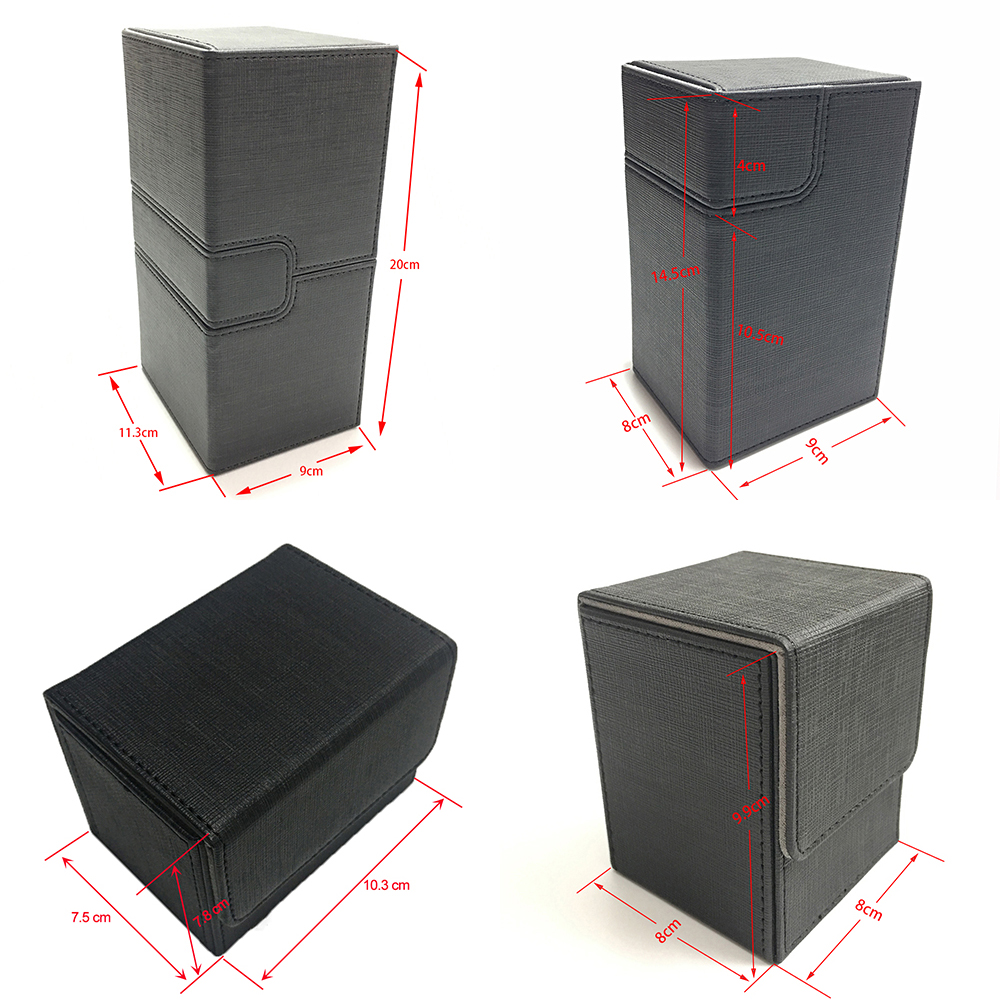 4 Styles Black Color Magic Deck Case, Magic/Pokemon/YuGiOh Deck Case Cards Board Game Card Holder Card Box Cards Container