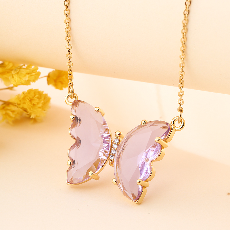 Fashion Stainless Steel Six Colors Crystal Butterfly Pendant Necklace For Women Glamour Female Color Butterfly Necklace Jewelry