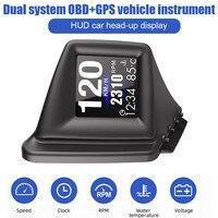 Sistema Dual OBD GPS, pantalla frontal de coche, 2 pulgadas, LCD, velocímetro Digital, odómetro, alarma de exceso de velocidad, proyector de velocidad