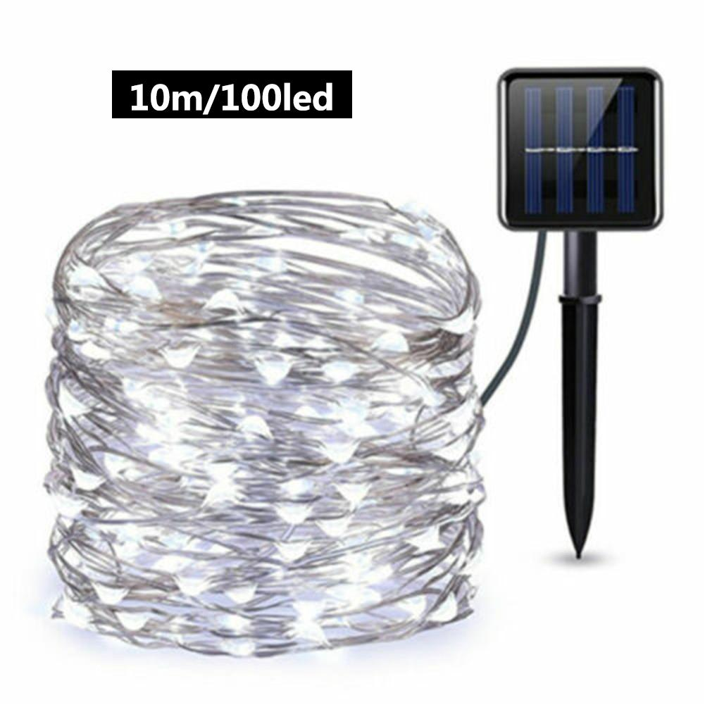 6/10m 60/100 Leds Solar LED Light Waterproof LED Copper Wire String Holiday Outdoor Led Strip Christmas Party Wedding Decoration