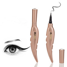 Gold tube feather with diamond waterproof eyeliner pen is not blooming lasting cool black makeup