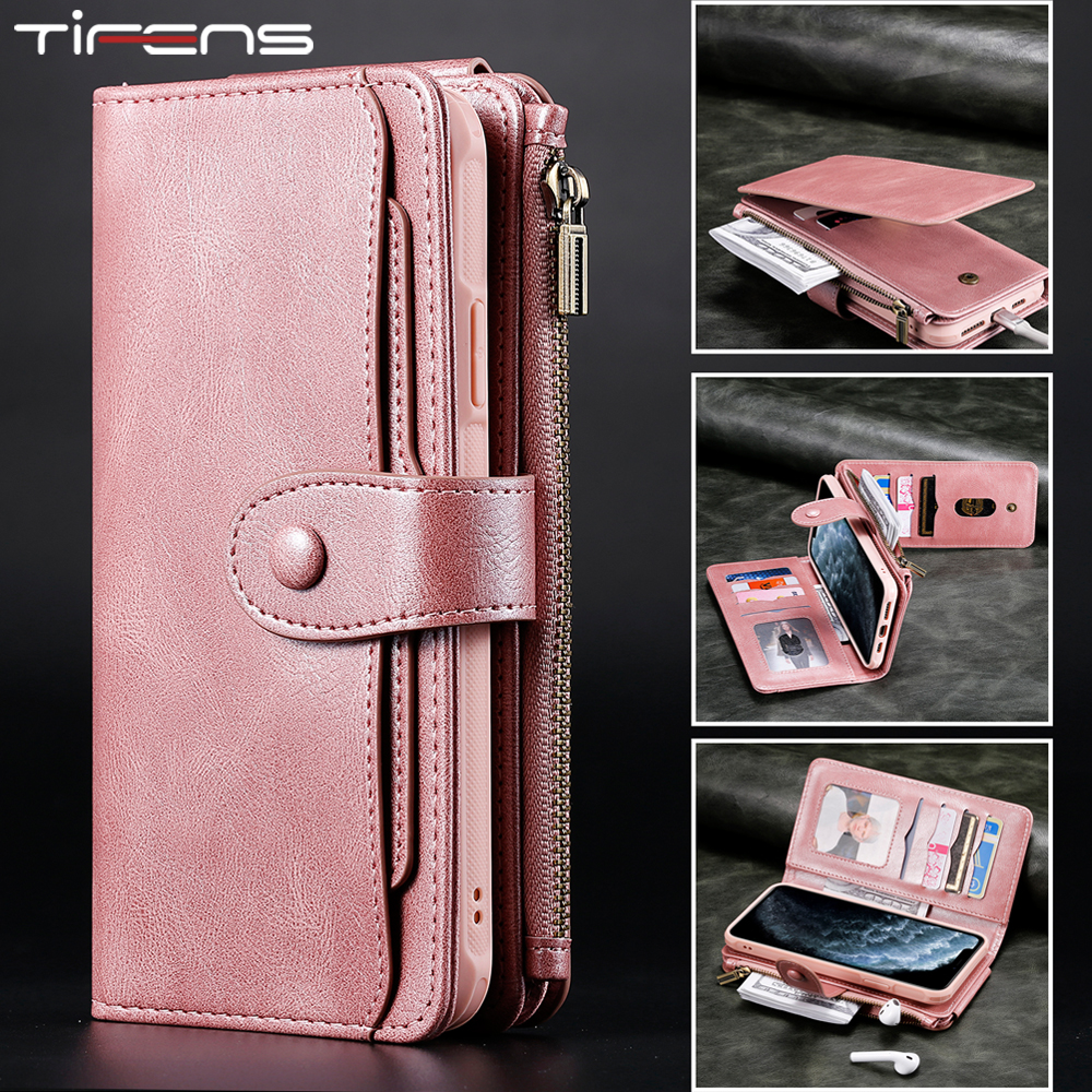 Luxury Leather Flip Cards Case For iPhone 11 Pro Max X XS XR 6 6s 7 8 Plus Removable Wallet Car Magnetic Mujer Phone Cover Bags
