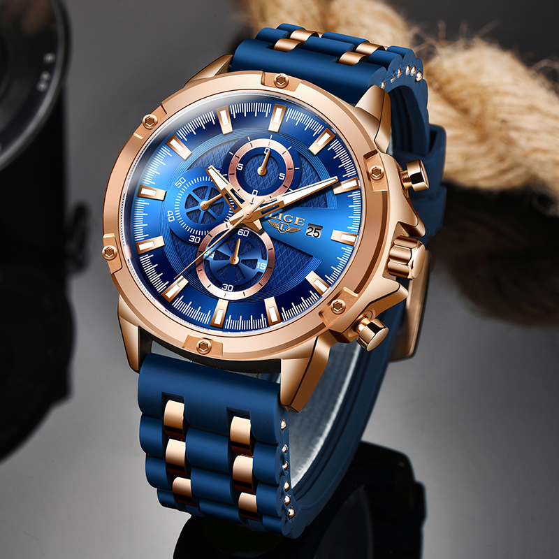 2020 New Warterproof Silicone Sports Mens Watches LIGE Top Brand Luxury Business Quartz Watch Men Chronograph Relogio Masculino