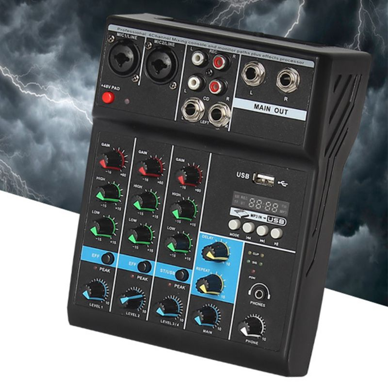 Professional Audio Mixer 4 Channels Bluetooth Sound Mixing Console for Home Karaoke KTV with USB Sound Card Sound Effects