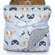 Утолщенное детское одеяло пушистая флисовая пеленка для новорожденных