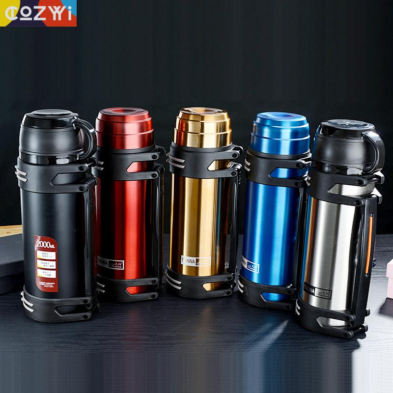 1.2l/1.5l/2l Travel Thermosflask Thermos Water Coffee Bottle Stainless Steel Coffee Cup Mug Heat Cold Preservation|Vacuum Flasks & Thermoses| |  - title=