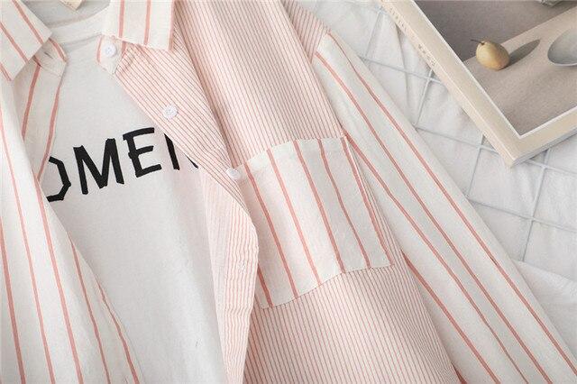 полосатые женские блузки рубашки туника топы женская одежда фотография