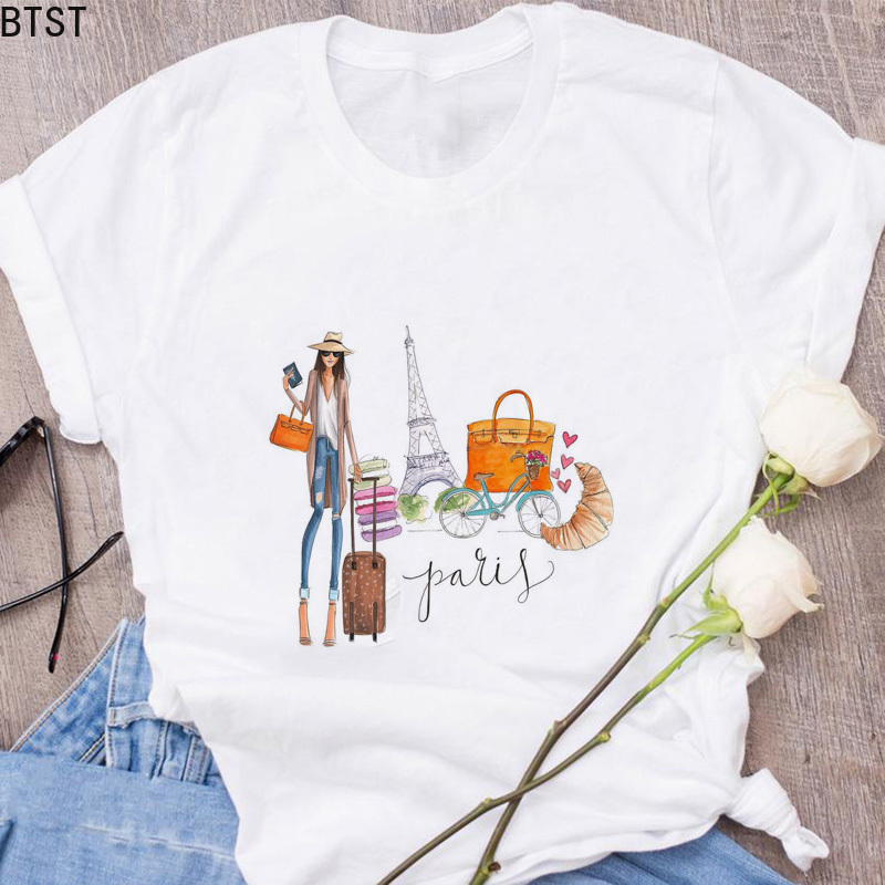 Vintage Vogue Paris Lipstick High Heels Print New T-shirt Women Casual Summer Tops 90s Aesthetic Korean Style Art Illustrations