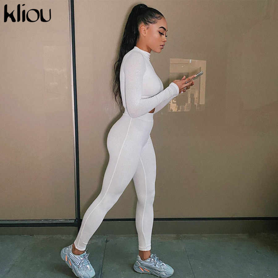 Kliou fashion tracksuit women turtleneck full sleeveless crop top+leggings matching set stretchy sporty fitness casual outfits