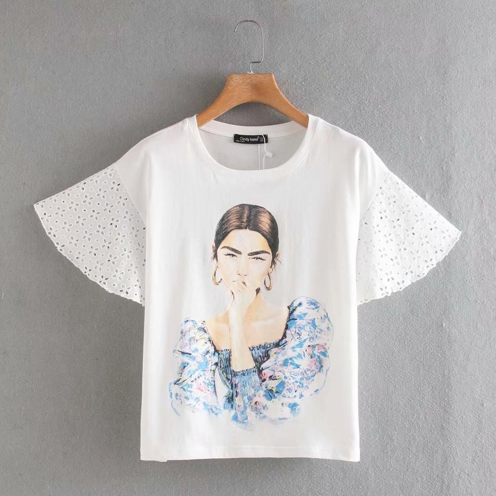 New 2020 Women Summer Lace Sleeve Patchwork Casual White T-shirt Female Chic O Neck Beauty Lady Print T Shirts Leisure Tops T651