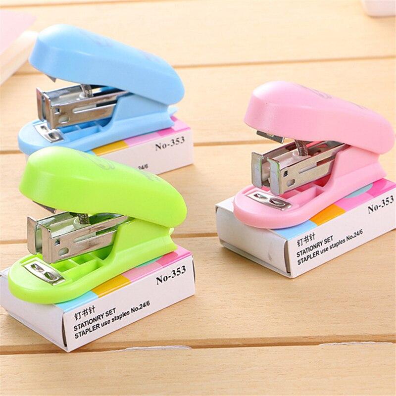 Portable Quality Kawaii Mini Small Stapler Useful Mini Stapler with 400 pcs Staples Set Office Binding Stationery