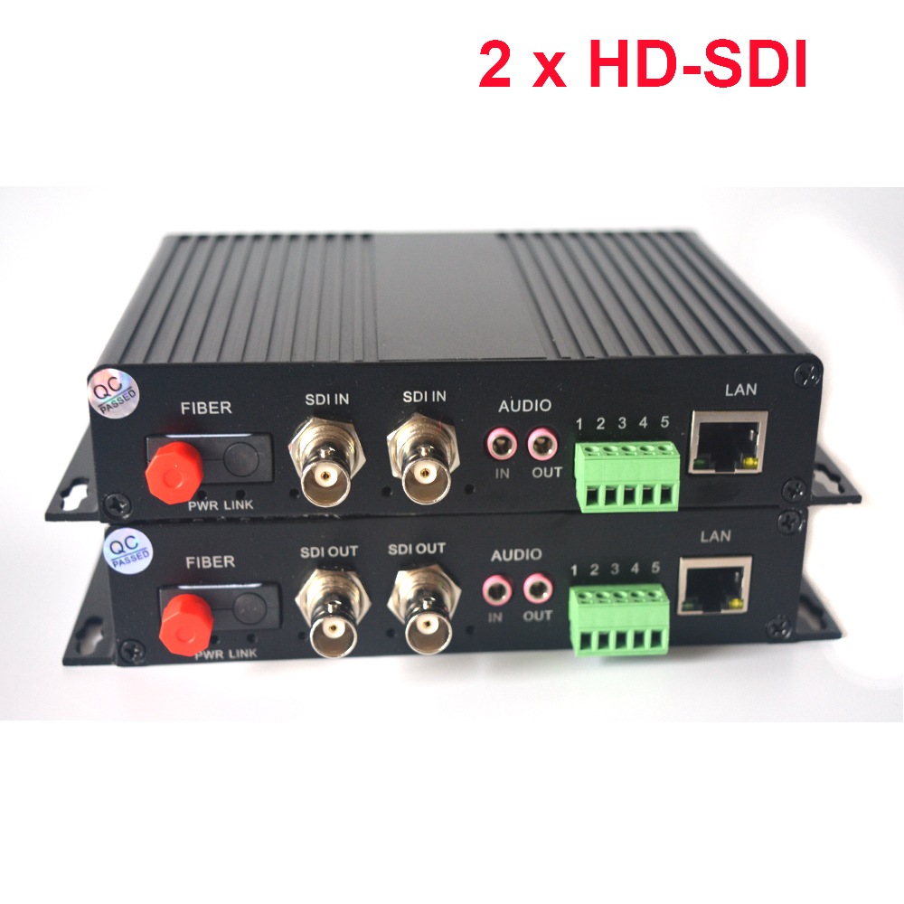 2 Channels HD-SDI Over Fiber Optic Media Converters Video/Audio/RS485 Data/10/100Mbps Ethernet To Fiber Transmitter And Receiver