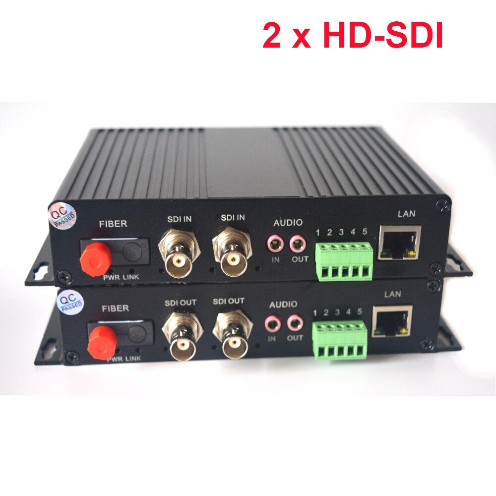 2 canaux HD-SDI au-dessus des convertisseurs optiques de médias de Fiber vidéo/Audio/données RS485/Ethernet 10/100Mbps à l'émetteur et au récepteur de Fiber