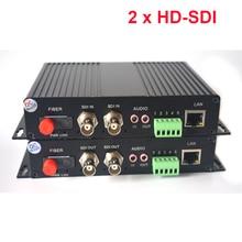 2 kanal HD SDI Fiber Optik Medya Dönüştürücüler Video/Ses/RS485 Veri/10/100 Mbps Ethernet fiber Verici ve Alıcı