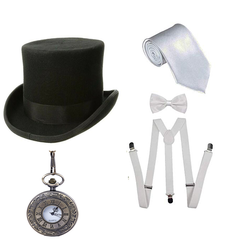 1920S Mens Great Gatsby Accessories Set Roaring 20s 30s Retro Gangster Costume Pocket Watch Supenders Tie