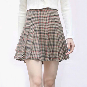 Women Tan, Black and Red Plaid Pleated Tennis Skirt High Waist Pleated Mini Skirt Skirts