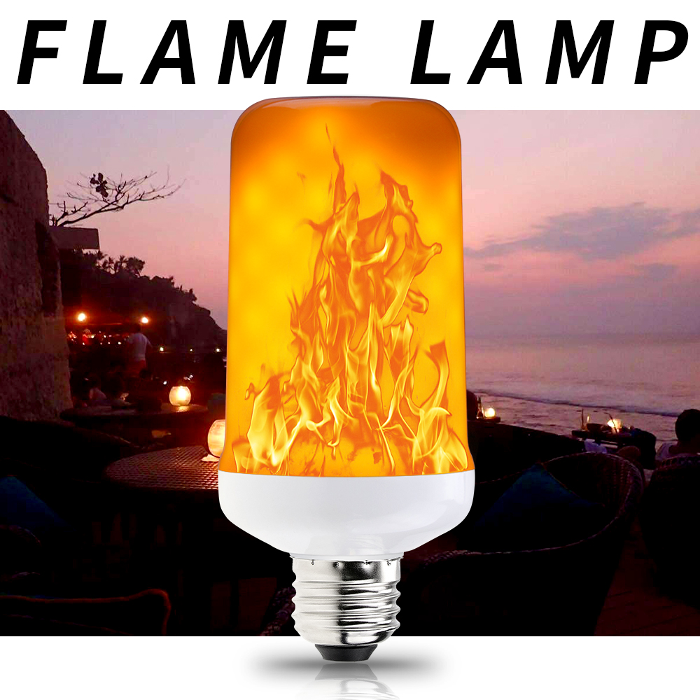<font><b>E27</b></font> <font><b>12V</b></font> Fire Light Flame <font><b>Led</b></font> <font><b>Bulb</b></font> E14 Flame Lamp 220V <font><b>LED</b></font> Burning Light E26 <font><b>Led</b></font> Candle Lamp Flickering Emulation Decoration 110V image