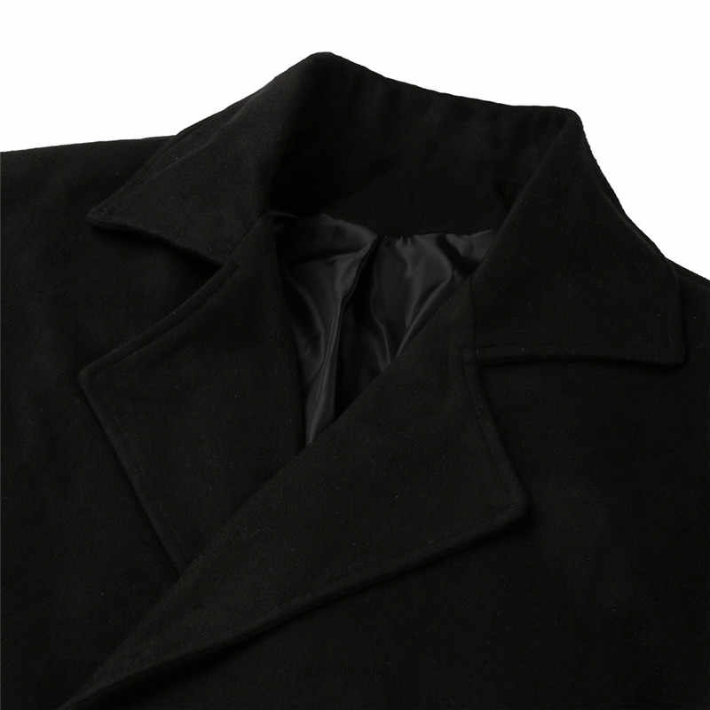 Mode Frauen Woll Mantel Dame Revers Graben Jacke Langarm Mantel Outwear Mit Tasche Herbst Winter Warm Woolen Mantel 5