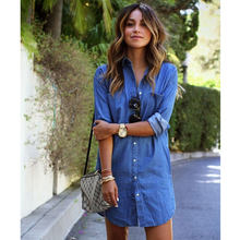 New 2019 Blue Denim Shirt Women's Jeans Long Sleeve T-Shirt Button Dress Casual Loose Autumn Clothes(China)