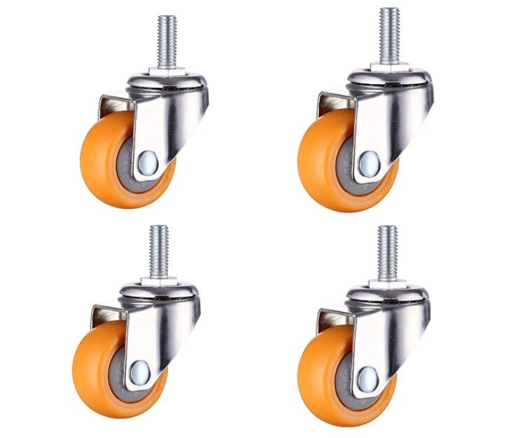 Roulettes à tige roue pivotante en Nylon de 1 pouce pour chariots à provisions boulons filetés M6