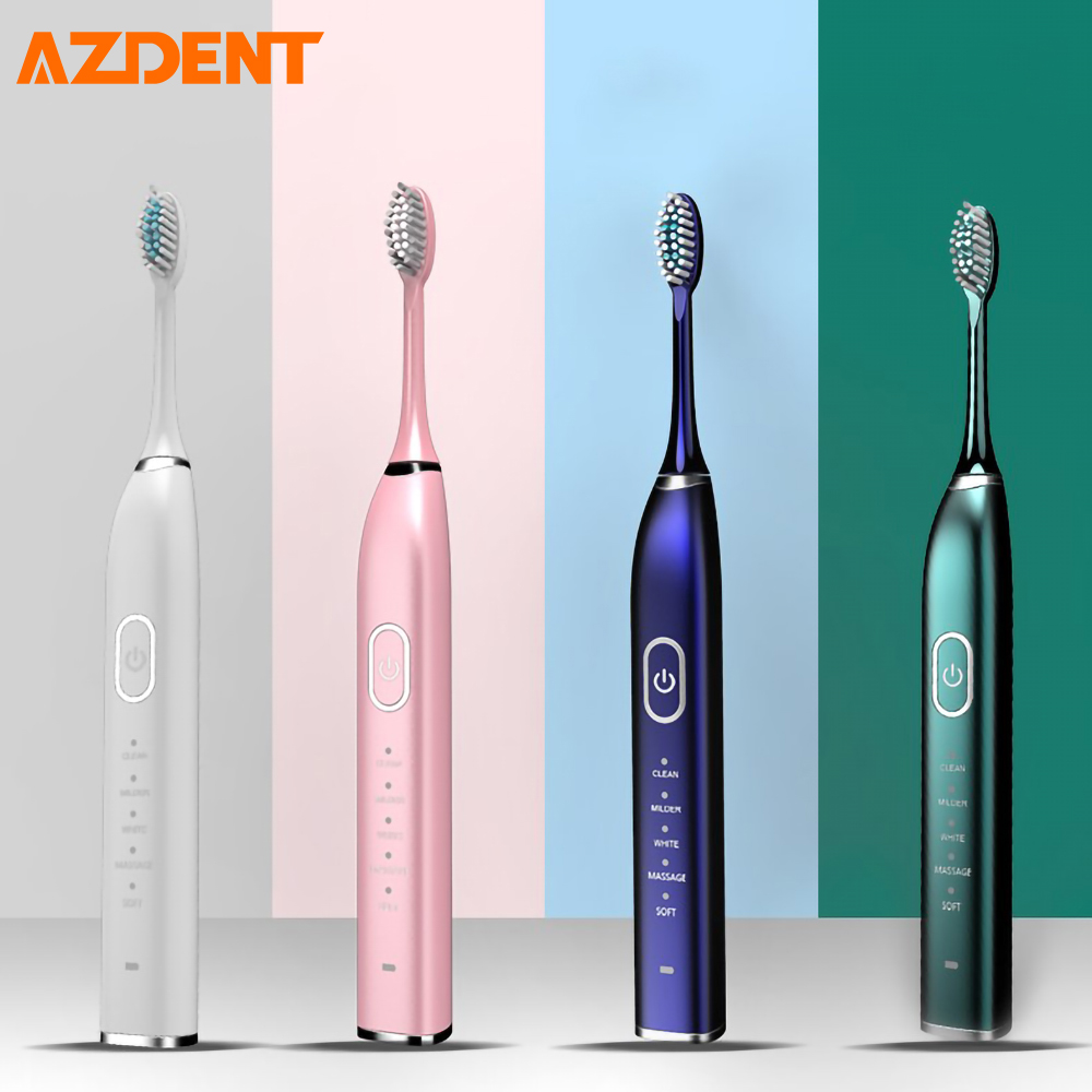USB Rechargeable Ultrasonic Electric Toothbrush 5 Brush Heads 5 Modes 2 Vibrating Intensity 30S Reminder 2min Timer Waterproof image