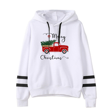 Christmas Truck Tree Hoodies Vintage Sweatshirts Woman Plus Women Streetwear Merry Christmas Sweatshirt Harajuku Red plus size merry christmas skew collar sweatshirt