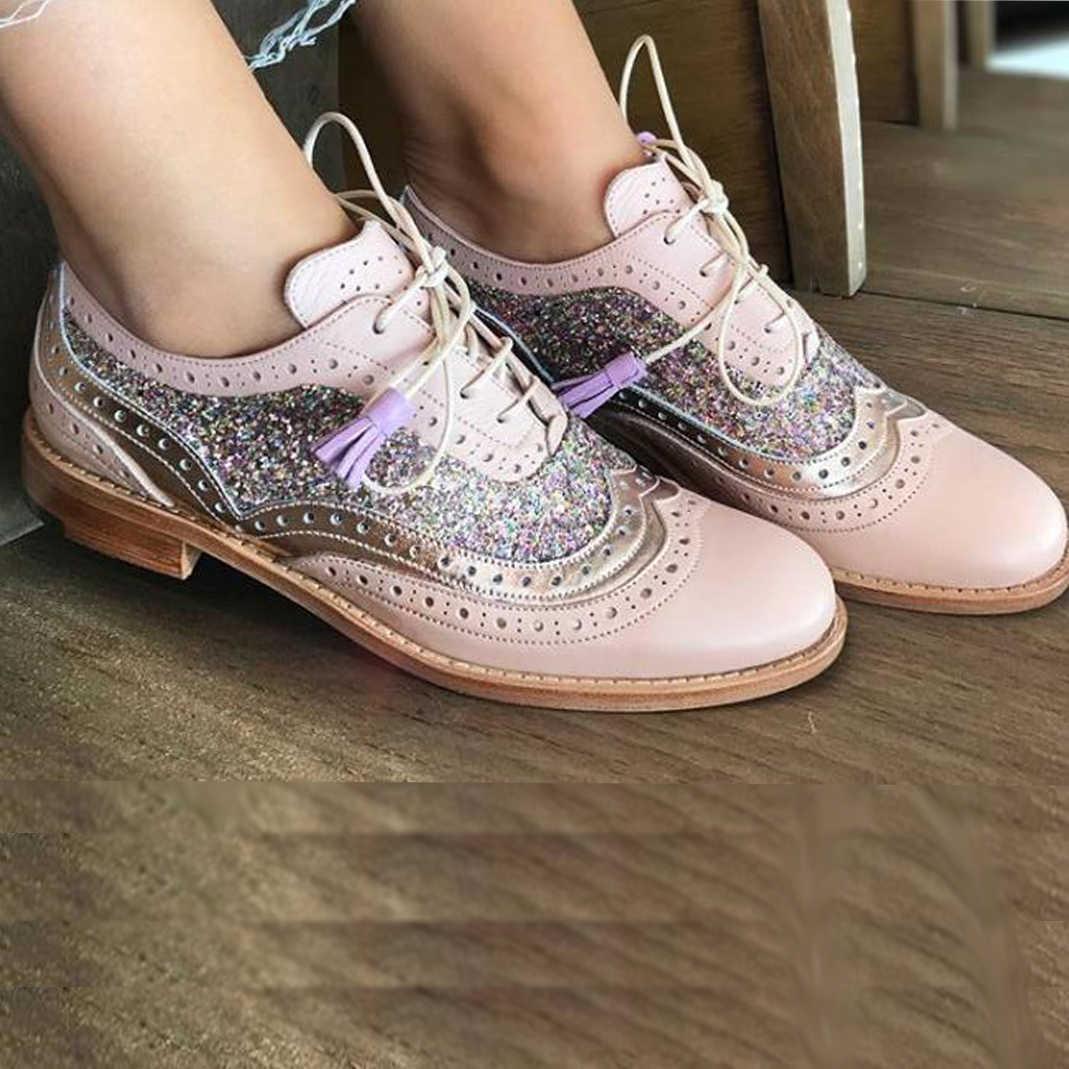 NouC el yapımı Hotsales pembe gümüş marka Oxford ayakkabı kadın hakiki deri yuvarlak kafa daireler Brogues kadın Oxfords ayakkabı