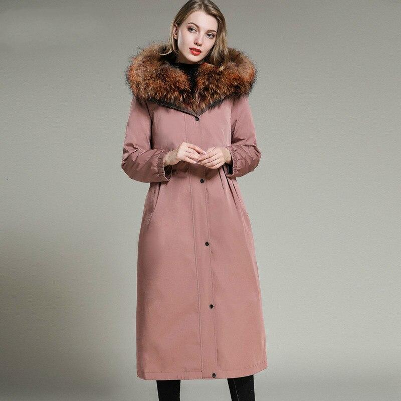 Real Fur Coat Women Rex Rabbit Fur Liner Winter Coat Women Real Fur Parka Long Jacket Abrigos Mujer Invierno 2020 JHL-047 YY815