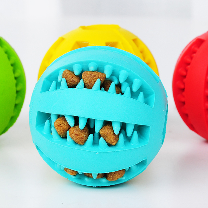 New Pet Toys 5CM Dog Toys Interactive Elasticity Ball Natural Rubber Leaking Ball Tooth Clean Ball Cat Dog Chew Interactive Toys img5