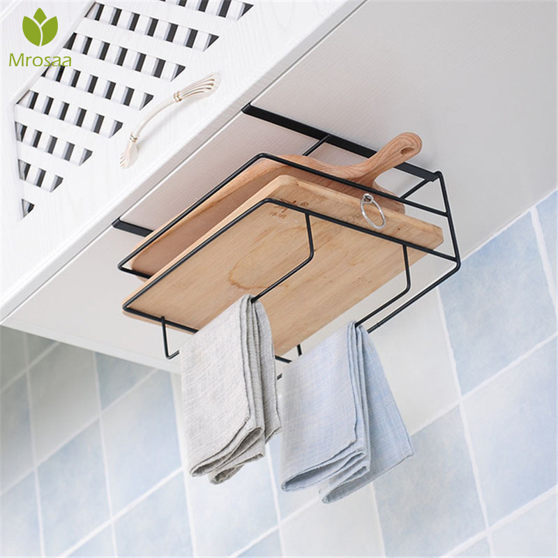 New Kitchen Double Layer Towel Rack Hanging Holder Cabinets Shelf Chopping Board Storage Rack Hanger Shelf Kitchen Accessories