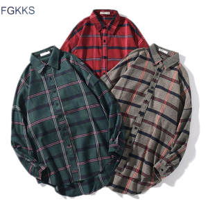 FGKKS Men Plaid Shirts Long-Sleeve New-Product Male Casual Fashion Spring Tops Turn-Down-Collar