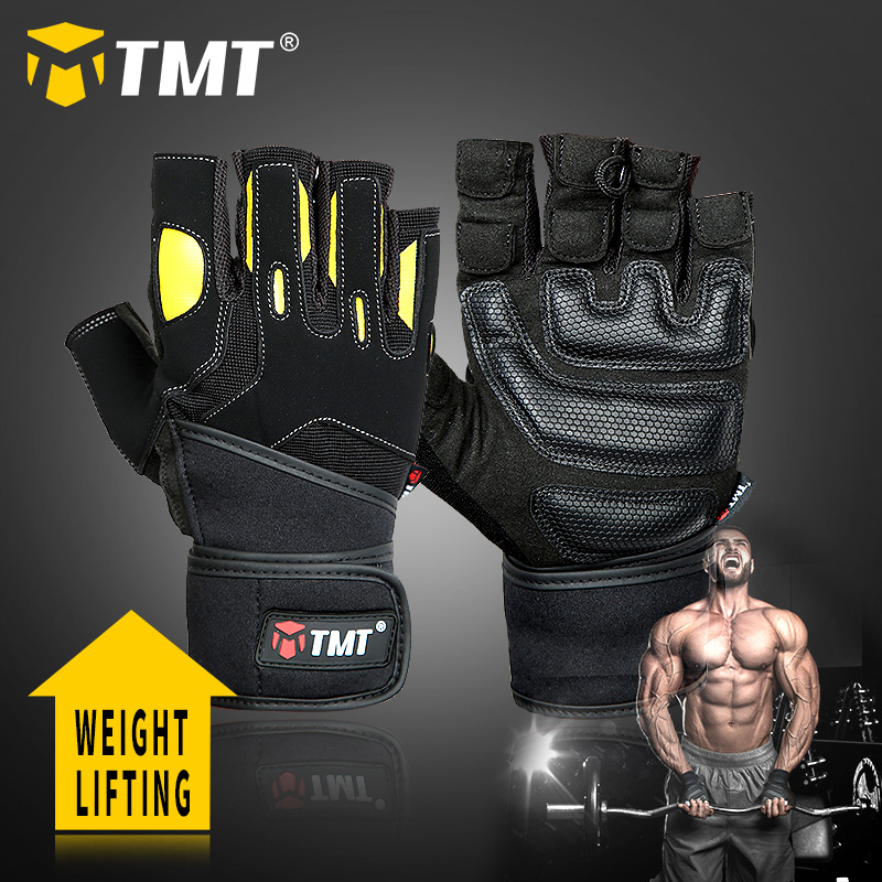 TMT  Sports Gym Gloves Weightlifting Fitness Workout Half Finger Gloves Men Bodybuilding Dumbbell Weight Lifting Training Gloves