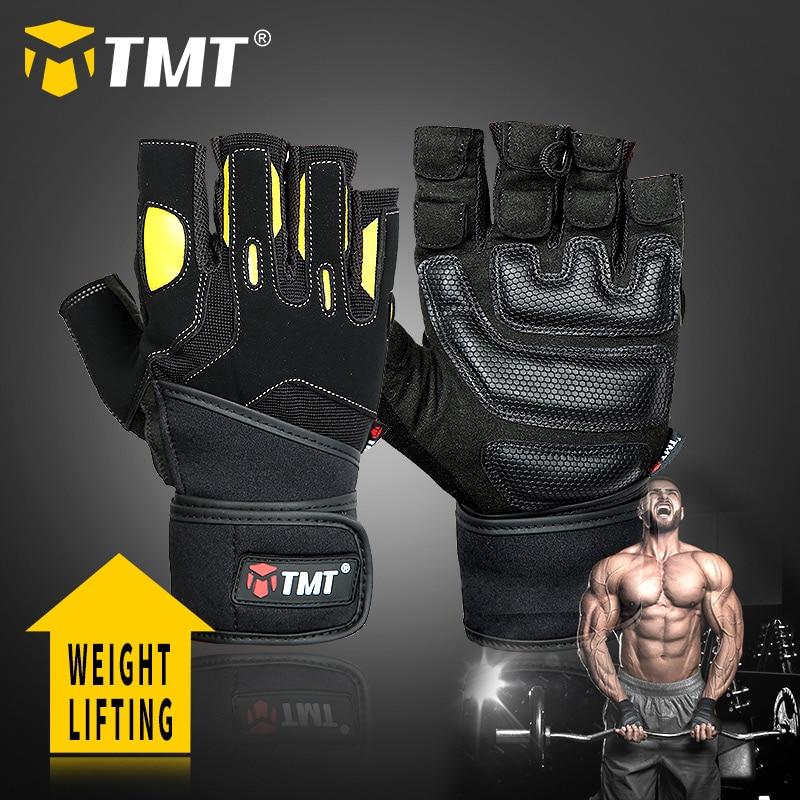TMT  Sports Gym Gloves Weightlifting Fitness Workout Half Finger Gloves Men Bodybuilding Dumbbell Weight Lifting Training Gloves